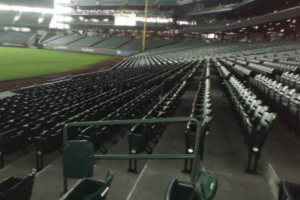 Railing Wi-Fi AP enclosure at Seatte's Safeco Field. Photo: MLBAM