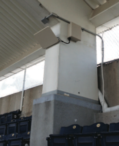 Wi-Fi antennas pointing down at Kauffman Stadium seating. Photo: MLB Photos
