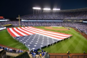 Old Glory on the field. Photo: Chris Vlesides/Kansas City Royals