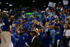 Royals fans cheering on the blue team during the playoffs. Photo: Chris Vlesides/Kansas City Royals