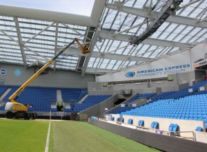 Crane helps with Wi-Fi install at the AMEX stadium. Credit all photos: Ruckus Wireless