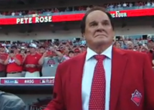 Pete Rose. Photo: Screen shot of Fox Sports broadcast courtesy of Cincinnati Reds.