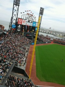 The view from AT&T Park's left field corner. All photos: Paul Kapustka, MSR (click on any photo for a larger image)