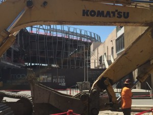 Construction work is everywhere surrounding the Golden 1 Center site.