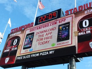 App promo at Stanford football game last fall. All photos: Paul Kapustka, MSR