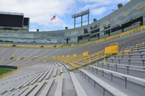 Lambeau bench seating with railing-mounted Wi-Fi APs