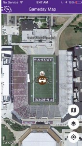 Screenshot of map on new K-State app.