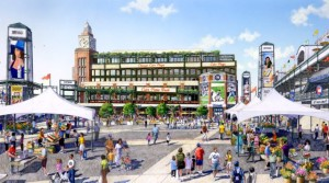 Artist rendering of the proposed fan plaza outside Wrigley Field. Renderings courtesy of the 1060 Project.