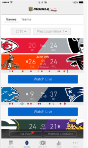 Screen shot of NFL Mobile app showing possible live games to watch.