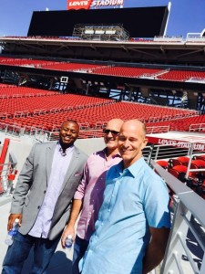 The DGP team at Levi's Stadium for a summer interview included, L to R, Derek Cotton, director of engineering; Steve Dutto, president; and Vince Gamick, VP and COO. These guys are probably smiling again now that DGP will be part of the Golden 1 Center deployment.