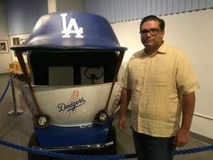 Ralph Esquibel, VP of IT for the Dodgers, with the new Wi-Fi relief pitcher mobile.