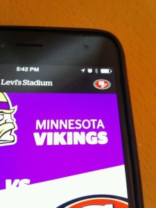 Levi's Stadium app showing direct link to 49ers team app. All photos: Paul Kapustka, MSR (click on any photo for a larger image)