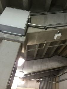 Remote optical cabinet and Wi-Fi AP at Kyle Field. Photo: Paul Kapustka, MSR