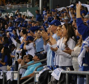 Fans cheering the Royals at Kauffman Stadium