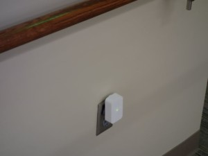 "An Aruba Sensor ""in the wild"" at the University of Oklahoma library, part of a test deployment of the new hardware. Photo: Aruba (click on any photo for a larger image)"