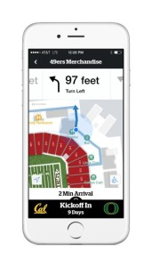 Screenshot of wayfinding features in Levi's Stadium app. Photo: Aruba