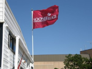 Flag flying over SooneRVillage lot. All photos: University of Oklahoma (click on any photo for a larger image)