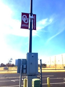 RV lot light pole with Wi-FI gear