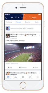 Facebook screen shot of new 'Facebook Sports Stadium' service