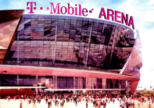 Artist rendering of T-Mobile name across top of new Las Vegas Arena.