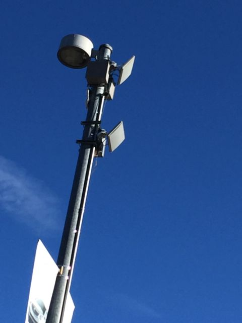 The parking lots just outside Sports Authority Field have good Wi-Fi coverage as this light pole shows.