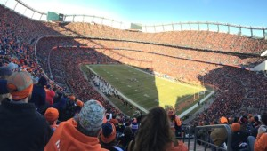 Panoramic view of Sports Authority Field at Mile High from the top seats. All photos: Paul Kapustka, MSR (click on any photo for a larger image)