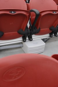 Close-up of under-seat DAS antenna system. Photo: Verizon Wireless