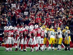 Arizona Cardinals and Green Bay Packers during the Jan. 16 playoff game. Photo: Arizona Cardinals