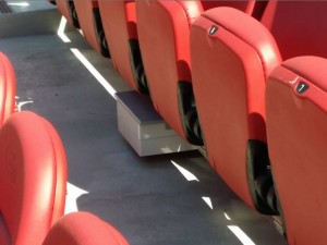 Under-seat Wi-Fi AP at Levi's Stadium. Photo: Paul Kapustka, MSR (click on any photo for a larger image)