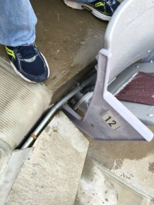 Close-up of conduit running to under-seat AP at Kyle Field. Photo: Paul Kapustka, MSR