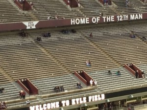 Kyle Field at Texas A&M. White spots in stands are under-seat AP locations. Photo: Paul Kapustka, MSR