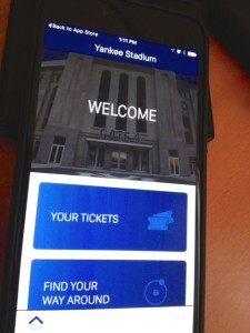 Home screen for VenueNext app for Yankee Stadium. Photo: Paul Kapustka, MSR