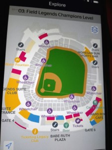 Yankee Stadium stadium map in the app