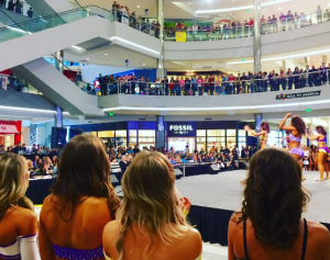 Minnesota Vikings cheer team tryouts at the mall.