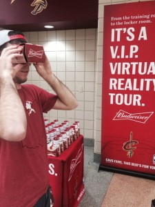 Fan testing the virtual-reality headset at Quicken Loans Arena. All photos: Cleveland Cavaliers