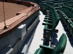 Lower level seats are covered with APs that shoot backwards into the stands.