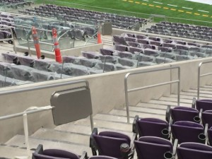 Close-up look at U.S. Bank Stadium railing enclosure during final construction phase, summer 2016. Credit: Paul Kapustka, MSR