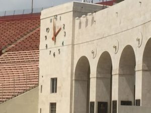 DAS antennas visible on the LA Coliseum's facade