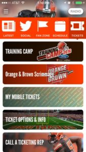 Screenshot of YinzCam's Browns app