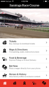 Screenshot of what the Saratoga app might look like. Credit: VenueNext