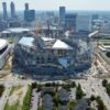 Aerial photo of Mercedes-Benz Stadium under construction. Credit all photos and artist renderings: Merecedes-Benz Stadium (Click on any photo for a larger image)