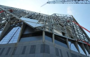 Wall panels being added to Mercedes-Benz Stadium in Atlanta