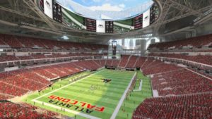 Artist rendering of Falcons game configuration with roof open and 'halo' video board visible