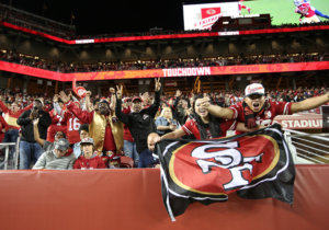 Niners fans celebrate a touchdown in the season opener. Credit: LevisStadium.com.