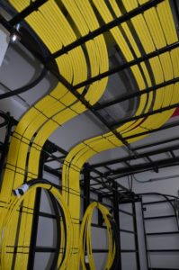 Fiber cabling inside the Golden 1 Center data center. Credit: CommScope / Golden 1 Center