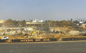 Construction-cam shot at home of future Banc of California Stadium. Credit: LAFC