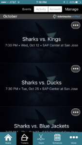Screenshot from new San Jose Sharks app developed by VenueNext. Credit: VenueNext