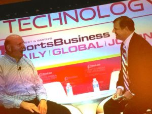Clippers owner Steve Ballmer (L) talks with John Ourand at the Sports Media & Technology conference. Credit all photos: Paul Kapustka, MSR (click on any photo for a larger image)