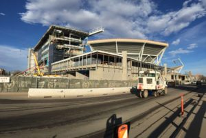 Panoramic view of the west and south outsides of the new CSU football stadium. Credit all photos: Paul Kapustka, MSR