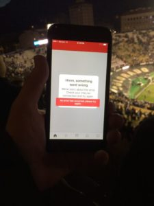 Error message shown while trying to connect to ESPN's website at Folsom Field on Nov. 19.